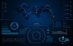 Kommunikationstechnologie-Konzeptschablonenhintergrund des abstrakten Schnittstellenschirmes UI HUD globaler lizenzfreie abbildung