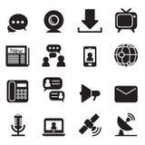 Kommunikationstechnologieikonen Stockfotografie