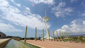 Kommunikationstorn Calatrava, Montjuic, Barcelona arkivfilmer