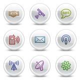 Kommunikationsweb-Farbenikonen, Kreistasten Stockfotos