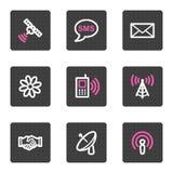 Kommunikationsweb-Ikonen Stockfotografie