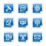 Kommunikationsweb-Ikonen, blaue Aufkleberserie Stockbild
