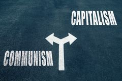 Kommunism vs kapitalismvalbegrepp royaltyfria foton