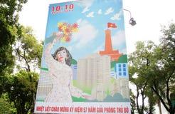 kommunistisk affischpropagandavietnames Arkivfoto