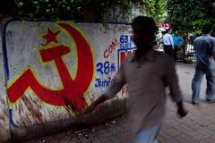 kommunistiska grafitti Arkivfoto