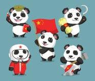 Kommunistiska kinesiska pandatecknade filmer vektor illustrationer