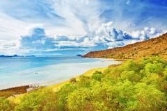 Komodo bay. Bay of Komodo island at sunrise royalty free stock photos