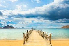 Komodo bay. Bay of Komodo island. Pier on the foreground Stock Images