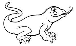 Komodo Dragon Lizard Cartoon Character Arkivbild
