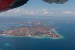Komodo flight. Airplane komodo indonesia tropical island Stock Image