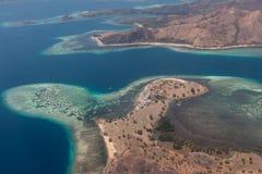 Komodo flight. Airplane komodo indonesia tropical island Stock Photo