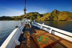 Komodo-Inseln vom Boot Stockfoto