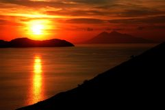 Sunset sea in komodo islands Stock Photography