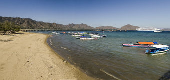 Komodo Island Panorama And Cruise Ship Royalty Free Stock Images