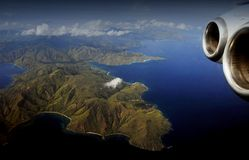 Komodo islands from the plane Royalty Free Stock Photo