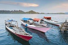 Komodo wyspy łodzie Zdjęcia Stock