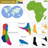 Komoren-Karte Lizenzfreies Stockbild