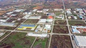 Komotini industrial area. Aerial view of Komotini industrial zone, Rodopi, Thraki, Greece royalty free stock photography
