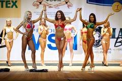 Komoza, Tsariova, Kolosova - gagnants dans le bikini Photographie stock