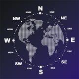Kompaß mit Weltkugel Stockfoto