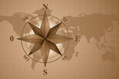 Kompaß Rose auf Kartenwelt Lizenzfreies Stockfoto