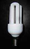 Kompakt fluorescerande lightbulb på trätabellen Royaltyfri Bild