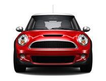 Kompakt röd bil- främre sikt stock illustrationer