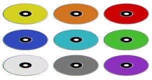 kompakta olika diskstyper för färger Arkivfoton