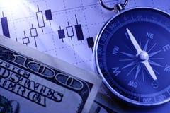 Kompas, dollarrekeningen en een bedrijfsgrafiek Royalty-vrije Stock Foto