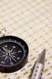 Kompas en diagram Stock Afbeeldingen
