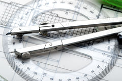 Kompas en hulpmiddelen om een nieuw huisproject te ontwerpen Stock Afbeelding