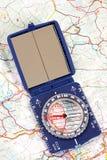 Kompas en kaart Stock Foto