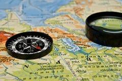 Kompas en kaart royalty-vrije stock foto