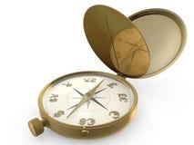 Kompas en munt Stock Fotografie