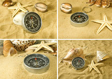 Kompas en overzeese shells op de zandclose-up Stock Fotografie