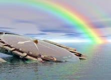 Kompas en regenboog Royalty-vrije Stock Foto