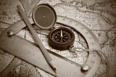 Kompas i kątomierz obraz royalty free