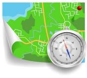 Kompas i mapa Zdjęcie Royalty Free