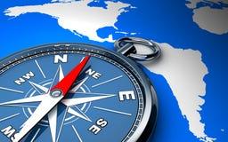 Kompas i mapa Zdjęcia Royalty Free