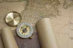 Kompas i Mapa obrazy royalty free