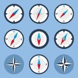 Kompas i Windrose Płaskie ikony Ustawiać Zdjęcia Stock