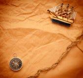 Kompas, kabel en model klassieke boot Stock Afbeelding