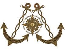 Kompas kierownica i kotwica ilustracja wektor