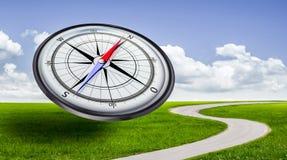 Kompas in landschap stock illustratie