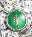 Kompas meer dan honderd dollars. Financieel concept. Royalty-vrije Stock Afbeelding