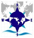 Kompas met wereldkaart Royalty-vrije Stock Afbeeldingen