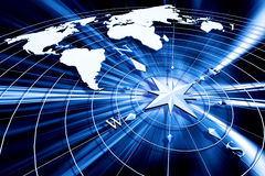 Kompas met wereldkaart Stock Afbeeldingen