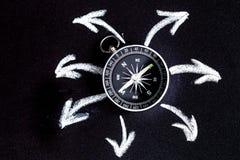 Kompas na ciemnym tła pojęciu - strzała, kierunku odgórny widok zdjęcia stock