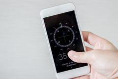 Kompas na mądrze telefonie Zdjęcia Stock