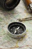 Kompas na mapie Fotografia Royalty Free